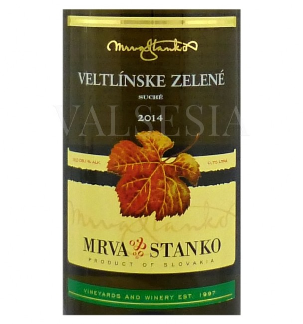 Mrva & Stanko Veltlínske zelené - Šenkvice, r. 2014, akostné víno, suché, 0,75 l