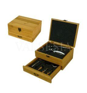 Vývrtka na víno DELUXE s příslušenstvím v dárkové krabičce - bambus