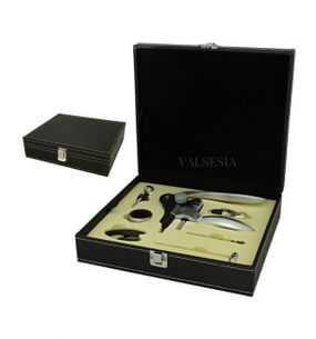 Vývrtka na víno DELUXE s příslušenstvím v dárkové krabičce - černá