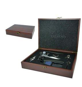 Vývrtka na víno DELUXE s příslušenstvím v dárkové krabičce - mahagon