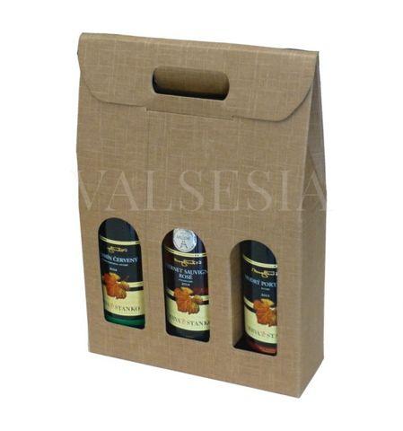 Dárkový kartonový obal na víno 3 x 0,75 l - přírodní