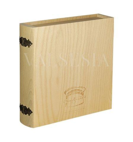 Dárkový obal - dřevěná kniha 4 x 0.75 l s logem vinařství Mrva & Stanko