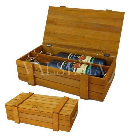 Dřevěná dárková kazeta na 2 lahve - světlehnědá