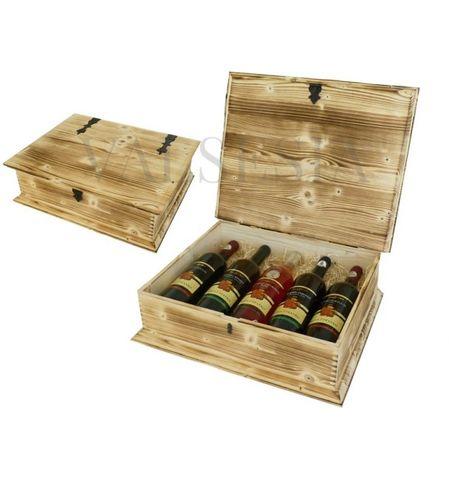 Dřevěná dárková truhlice na víno opalovaná 5 x 0.75 l