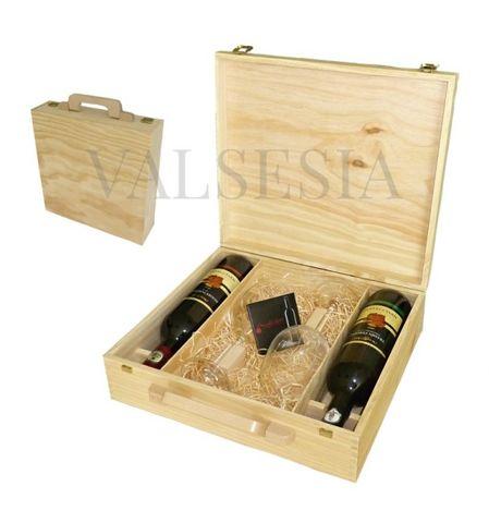 Dřevěný dárkový kufřík Mrva & Stanko 2 x 0.75l se sklenicemi