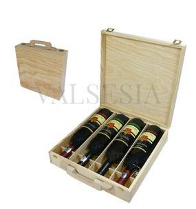 Dřevěný dárkový kufřík na víno 4 x 0.75l