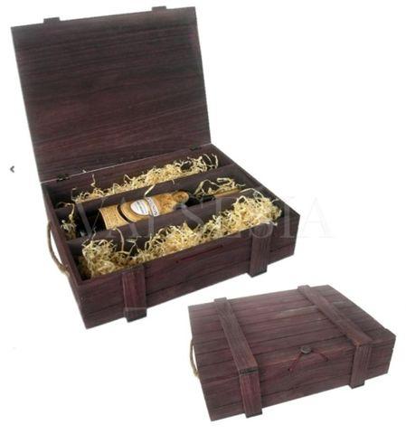 Dřevěný dárkový obal na víno - hnědý 3 x 0.75 l