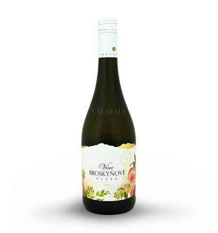 Broskvové víno, značkové ovocné víno, sladké, 0,75 l